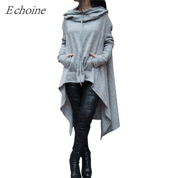 Echoine Oversized Hoodie 2017 Autumn Scarf Collar Long Sleeve Pockets High Low Hooded Sweatshirts Women Casual Outwear Pullovers