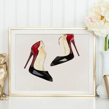 French Couture Print Fashion Illustration Modern Home D¨¦cor Christian Louboutin Shoes