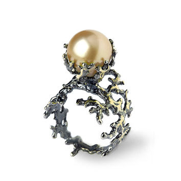 BLACK CORAL Golden South Sea Pearl Ring, Golden Pearl Engagement Ring, Black Gold Engagement Ring