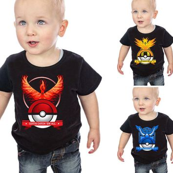 2017 new children t shirt pokemon go shirt kids girls tops shirts t-shirt boy tshirt for boy tee shirt clothes clothing costume