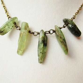 Green Kyanite Spear Boho Style Bronze Necklace, Gemstone Jewelry, Gift Box