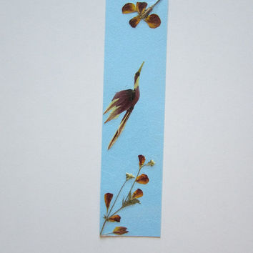 "Handmade unique bookmark ""Always head up"" - Decorated with dried pressed flowers and herbs - Original art collage."