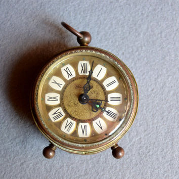 Daylight Savings SALE-Antique Miniature Alarm Clock old, German,