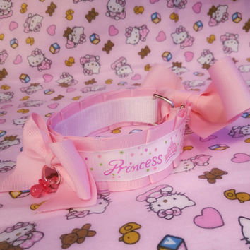 Princess DDLG Collar Choker in Pastel Pink (Made to Order) by Kitten's Castle