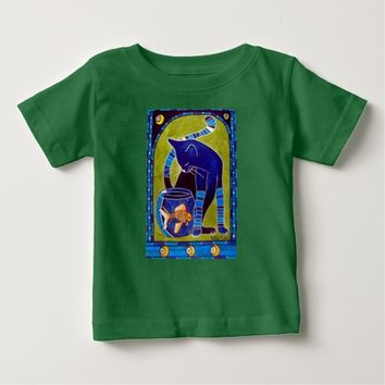 Blue Cat With Goldfish Whimsical Cat Art Baby T-Shirt