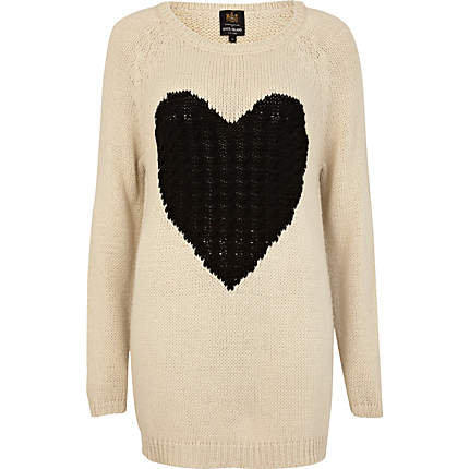 Cream cable heart knit jumper