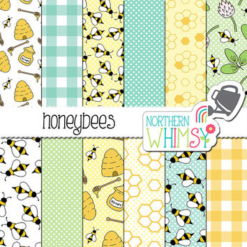 "Bee Digital Paper - ""Honeybees"" - bee, honeycomb, hive & floral seamless patterns - bee scrapbook paper - printable paper - commercial use"