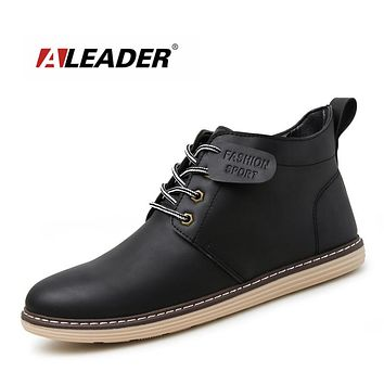 Fashion Lace Up Ankle Boots Autumn Men Casual Shoes Black Pu Leather Boots Waterproof Mens Short Booties Comabat