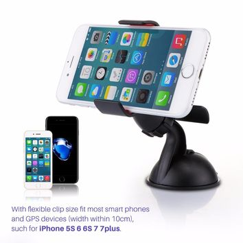 Universal 360 Degree Rotatable Car Phone Holder Stand with Sucker Base Windshield Console Bracket for iPhone Samsung Xiaomi HTC