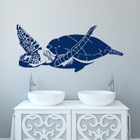 Turtle Wall Decal- Sea Turtle Wall Decal Tortoise Sea Animals Turtle Wall Art Nautical Marine Sea Ocean Bathroom Nursery Bedroom Decor C113