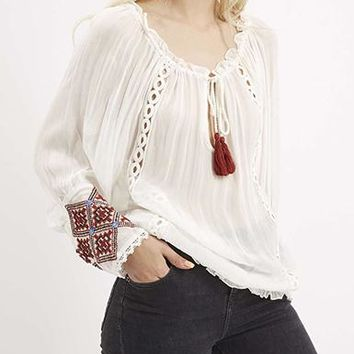 Womens Peasant Blouse - White with Red Trim / Lace Panels