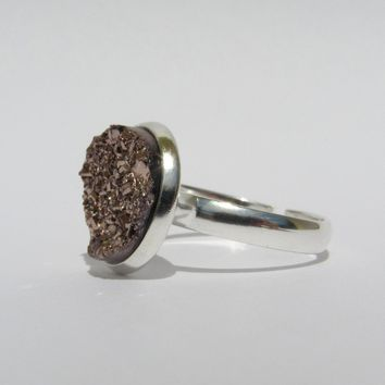 Small Adjustable Faux Druzy Ring 12mm