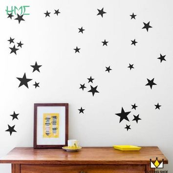 39pcs Twinkle Stars Cute Wall Stickers Decor For Baby Home Bedroom Children Room Wall Murals Five Point Star Patterned Wallpaper