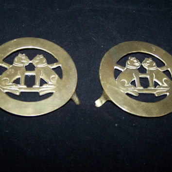 sale trivet Two Brass Cat Trivets lot of 2 by therudicollection