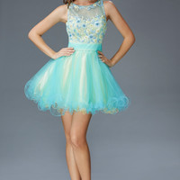 G2124 High Neck Tulle Homecoming Cocktail Dress