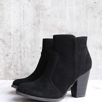 one more time suede ankle bootie in black