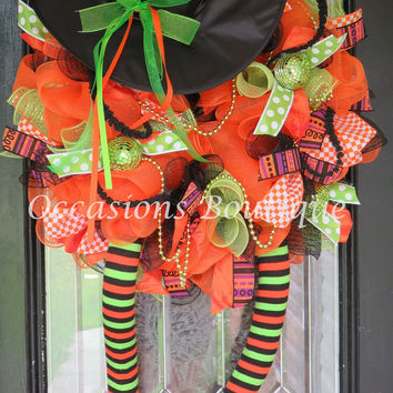 HUGE! Halloween Wreath, Halloween Decoration, Fall Wreath, Wicked Witch Wreath, Front door wreath, Door Hanger, Ready to Ship