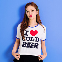 Color Piped Statement T-Shirt - I know you wanna kiss me. Thank you for visiting CHUU.