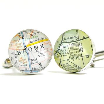 New York Yankee Stadium Vintage Street Map Sterling Silver Round Cufflinks