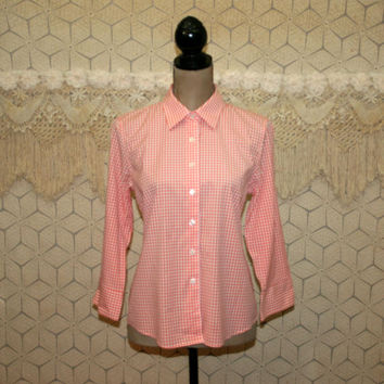 Gingham Top Orange Peach Button Up Shirt Cotton Blouse Medium Casual 3/4 Sleeve Womens Shirts Womens Tops Size 8 Talbots Womens Clothing