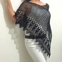 Wool lace poncho, black woman poncho,  lace wrap, cape, shawl, wrap, wedding wrap, loose knitting, light weight top