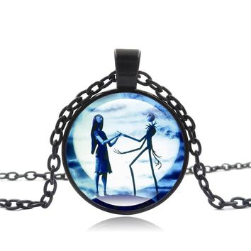 XUSHUI XJ The Nightmare before Christmas necklace Jack and Sally Counple Lover's Glass Cabochon Pendant Necklace Women Jewelry