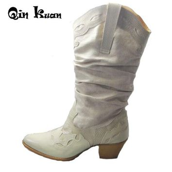 Qin Kuan Women Brand Pointed Toe Western Cowboy Boots Lady Carving  Mid Calf Shoes Girl Square Heel Knight Snow Boots Size 35-42