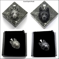Tribal Wolf Head Medallion Pendant with Gift Box and Jewelry Pouch Choose Silver or Black Wolf