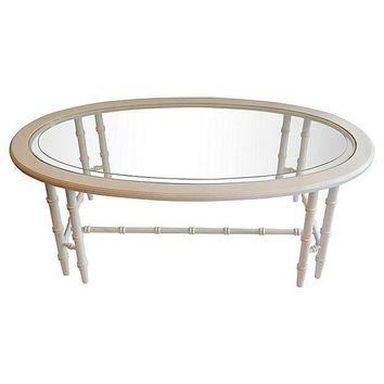 Pre-owned Oval Faux-Bamboo Coffee Table