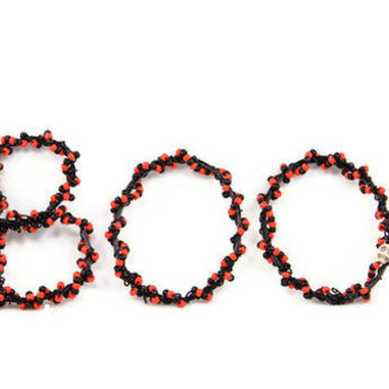 Halloween Decor BOO Beaded Wire Letters