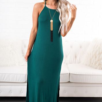 From Day One Basic Dress (Hunter Green)