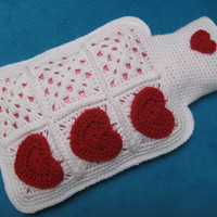 Crochet Pattern 'Only Love' Hot Water Bottle Cover PDF Valentine's Day