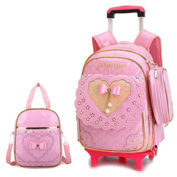 School Backpack Cute Bow New Princess Style Girls Trolley School Bag 3PCS/set PU Leather Waterproof Wheeled Backpack Ruffles Removable Backpack AT_48_3