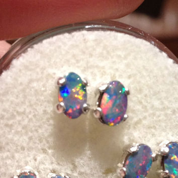 "Australian Black Opal ""Mini-Studs"" - OVAL"