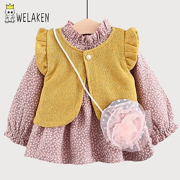 weLaken 2017 New Fashion Girl's Dress 2 Pieces Flower Cute Kid's Outwear Autumn Winter Long Sleeve Warm Cotton Pleated Dress
