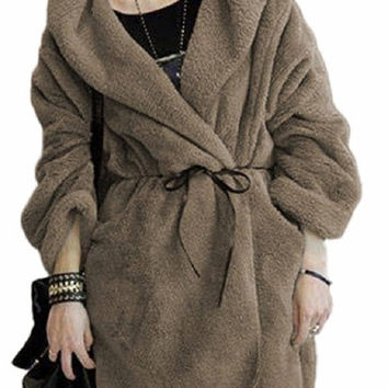 Demarkt  New Women'S Winter Warm Thick Loose Cloak Plush Fur Coat Jacket Wool Cashmere Hooded Sweater With Belt coat = 1956590148