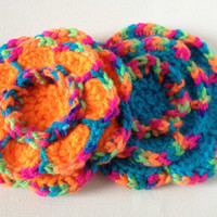 Crochet Flower Brooch, Rainbow with Blue or Orange, Large Yarn Flower Pin, Acrylic Wool Flower