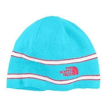 CREYON North Face Logo Youth Fleece Lined Winter Beanie Hat Turquoise Blue Striped