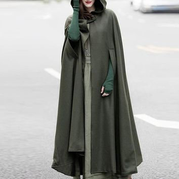 ZANZEA Autumn Cloak Hooded Coat Women Vintage Gothic Cape Poncho Coat Medieval Victorian Warm Long Open Stitch Jackets Plus Size