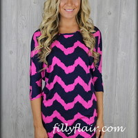 Spring Navy and Fuschia chevron top in plus size - Filly Flair
