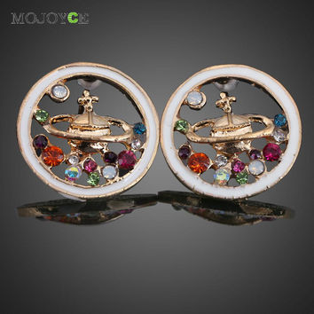 Colorful Crystal Rhinestone Saturn Planet Universe Ear Stud Earrings  SN9