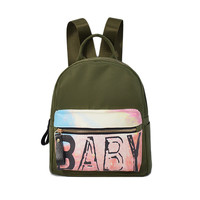 Casual On Sale Hot Deal Back To School Comfort Stylish College Canvas Summer Baby Alphabet Print Simple Design Backpack [9369818308]