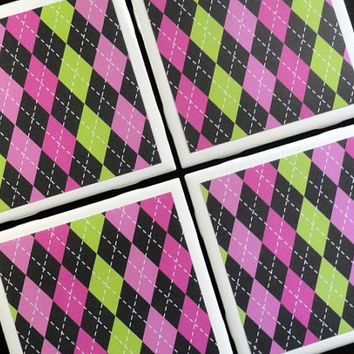 Argyle Coasters, Tile Coaster, Tile Coasters, Coaster, Coasters, Ceramic Coasters, Table Coasters, Drink Coasters, Coaster Set of 4