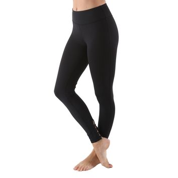 Women's Poly Active Long Yoga Compression Leggings - Black