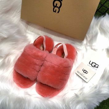 Ugg Women's Fluff Yeah Slide Red - Best Online Sale