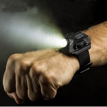 Rechargeable R2 LED Outdoor Wrist Flashlight
