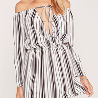 Off Shoulder Wrap Top Black Vertical Stripes Mini Dress from mobile - US$13.95 -YOINS