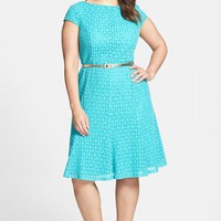 Plus Size Women's London Times Belted Cap Sleeve Lace Fit & Flare Dress