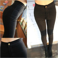2014 Hot Sale New Fashion Euramerican High Waist Elastic Jeans Thin Skinny Pencil Pants Sexy Slim Hip Denim Pants For Women = 1930187524