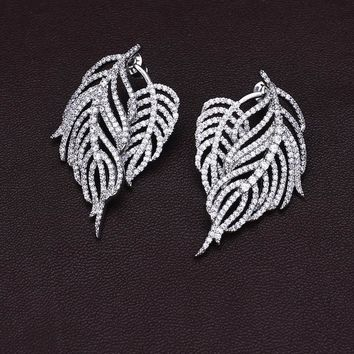 Pteris feather leaves full drill tassel sterling silver micro-studded earrings